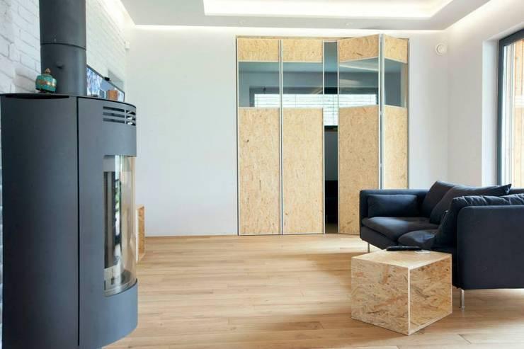 Kasztanowa - niezwykły dom dla niezwykłych ludzi: styl , w kategorii Salon zaprojektowany przez ABU Wnętrza,Minimalistyczny