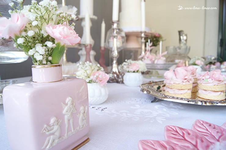 Pequenos e deliciosos detalhes.: Sala de jantar  por Lima Limão-  Festas com charme
