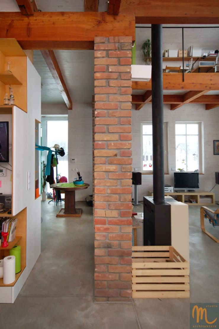 W drewniaku: styl , w kategorii Salon zaprojektowany przez studio m Katarzyna Kosieradzka