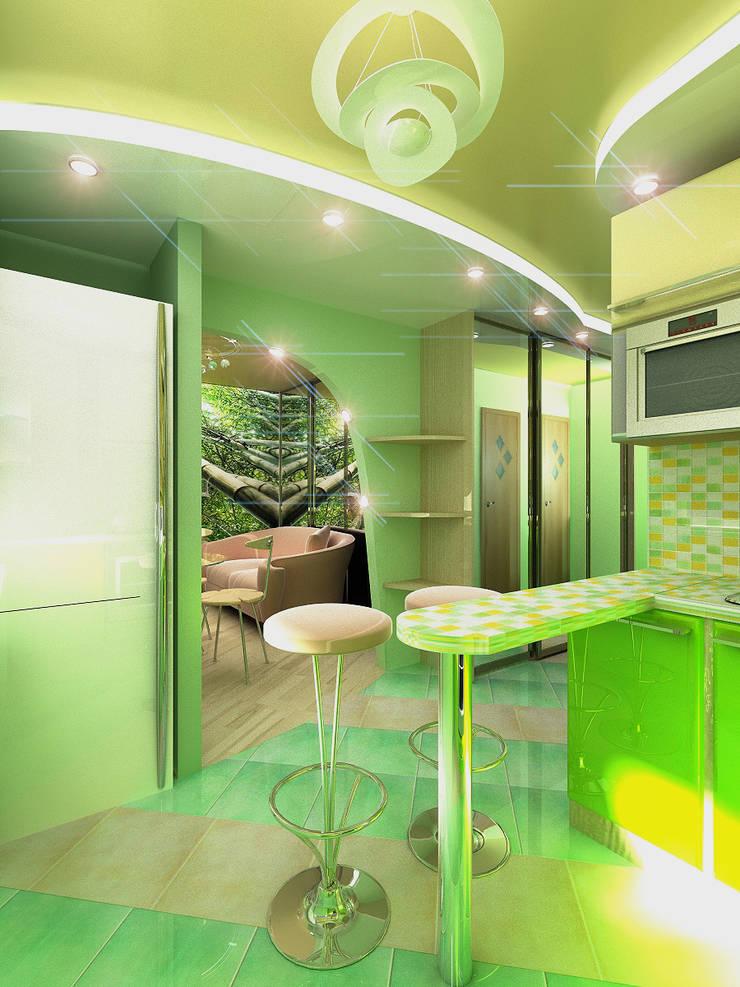 Однокомнатная квартира: Кухни в . Автор – ИП Поварова Татьяна Владимировна