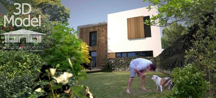 Casa Pré-Fabricada Massy - Paris : Jardins  por Nogueira Fernandes, LDA