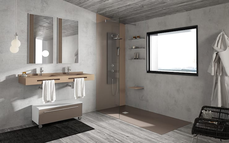 Baños de estilo  por MUEBLES OYAGA