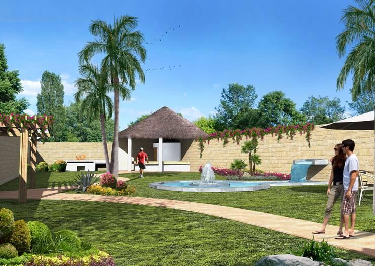Comedor y fuente: Jardines de estilo  por Milla Arquitectos S.A. de C.V.