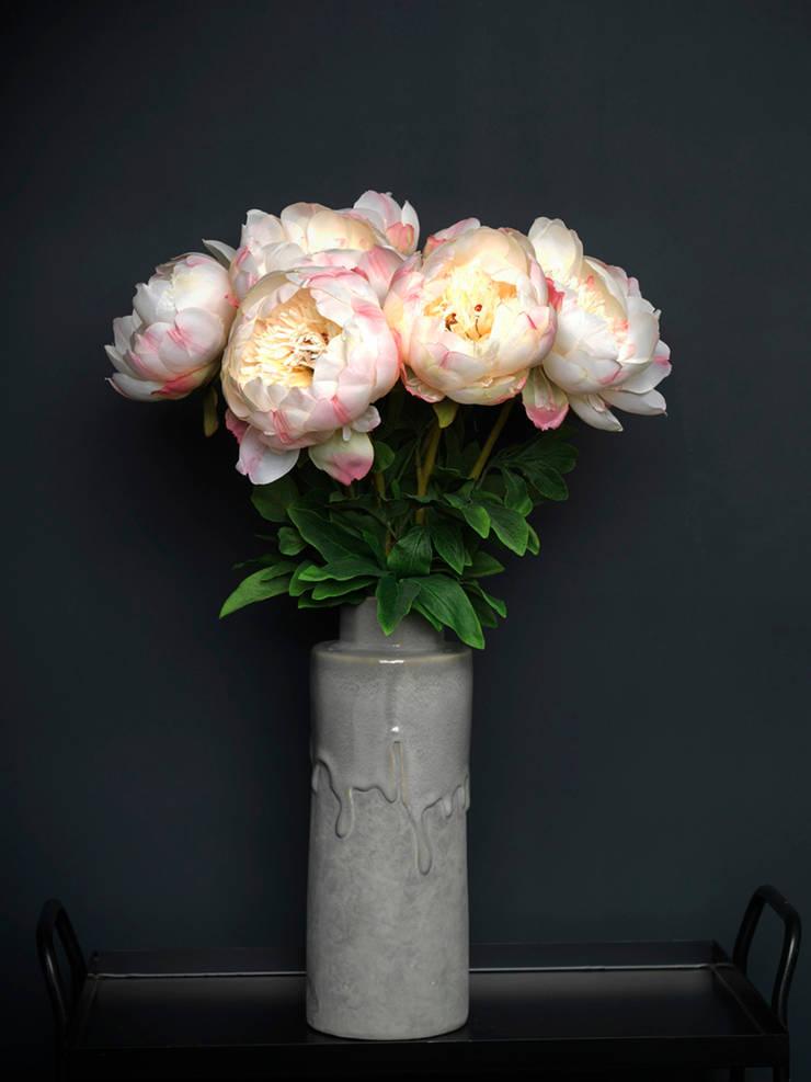 Large cream/pink Peony stem par Dust Éclectique