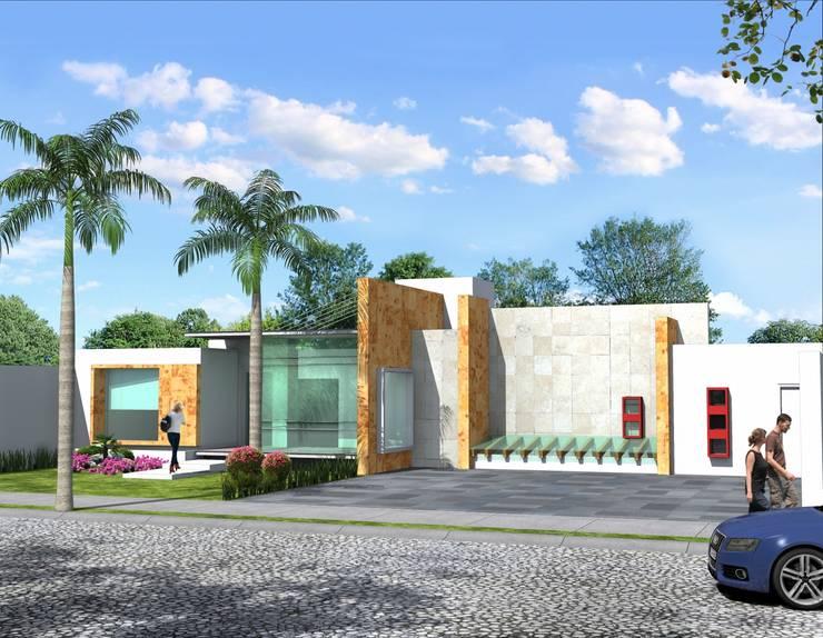 Fachada Principal desde a cochera: Casas de estilo  por Milla Arquitectos S.A. de C.V.