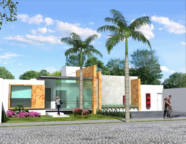 Fachada principal desde el acceso: Casas de estilo  por Milla Arquitectos S.A. de C.V.