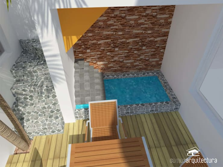 Diseño de jardín de invierno con parrilla y patio exterior: Jardines de estilo  por Somos Arquitectura