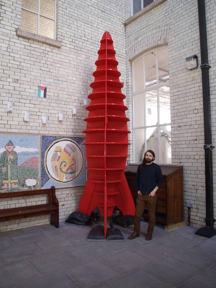 Public Art - A Big Red Space Rocket:  Artwork by Bright Stem
