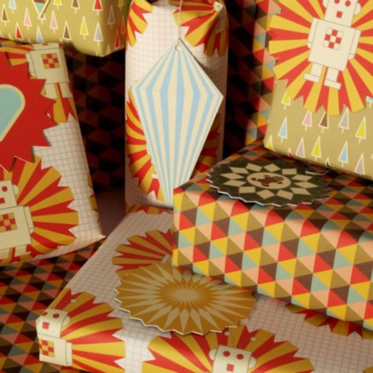 Mixed Wrapping Paper and Tags:  Artwork by Bright Stem