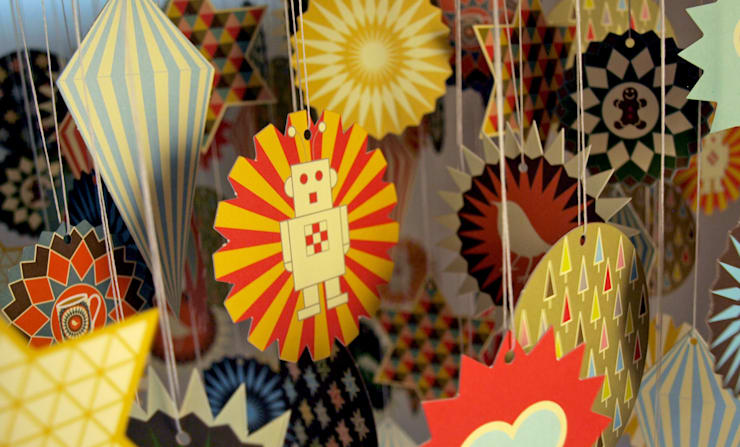 Card Baubles/ Christmas Decorations:  Household by Bright Stem