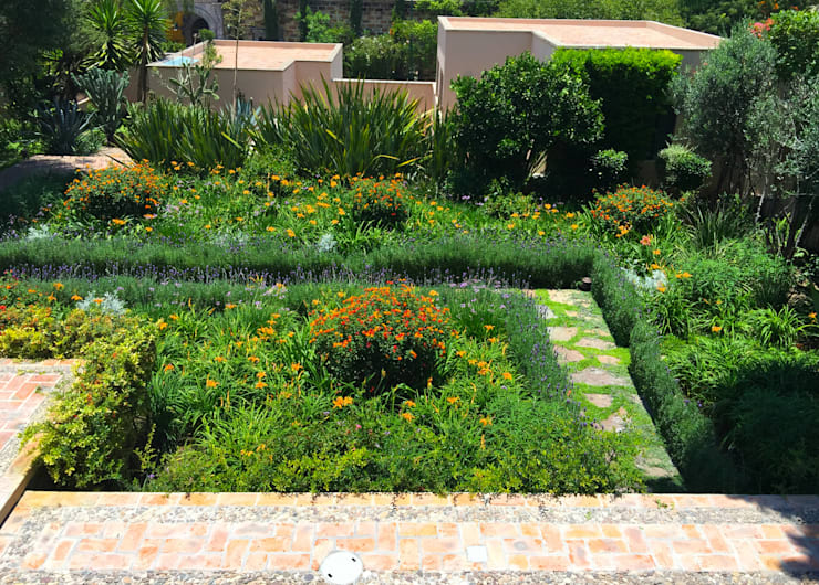 Vista superior jardin de flores: Jardines de estilo moderno por Terra