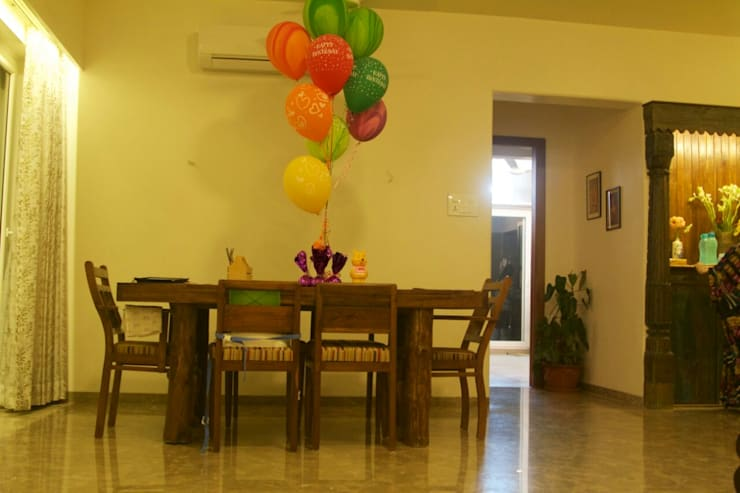 interior project : residential apartment: asian Dining room by uttara and adwait furniture