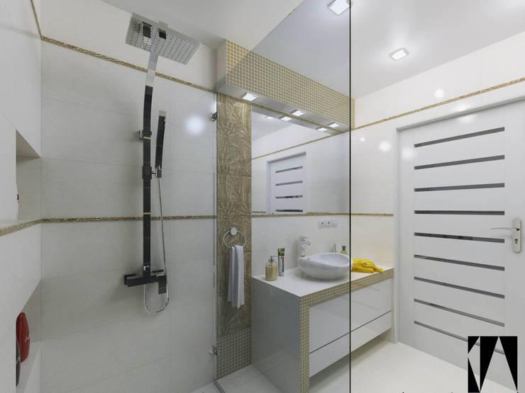 Złota łazienka: styl , w kategorii Łazienka zaprojektowany przez Katarzyna Wnęk