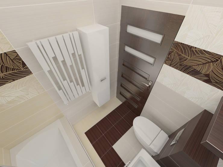 Beżowo- brązowa: styl , w kategorii Łazienka zaprojektowany przez Katarzyna Wnęk,