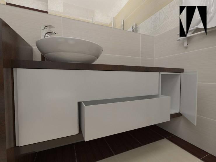 Beżowo-brązowa 2: styl , w kategorii Łazienka zaprojektowany przez Katarzyna Wnęk,