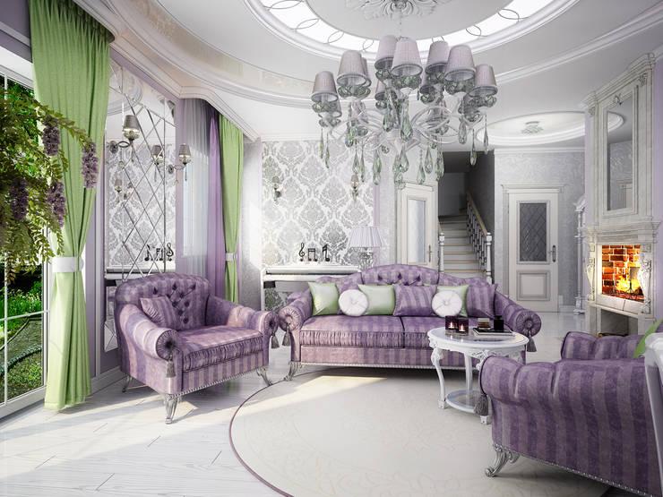 Проект 2х этажного коттеджа в стиле современная классика: Гостиная в . Автор – Инна Михайская,