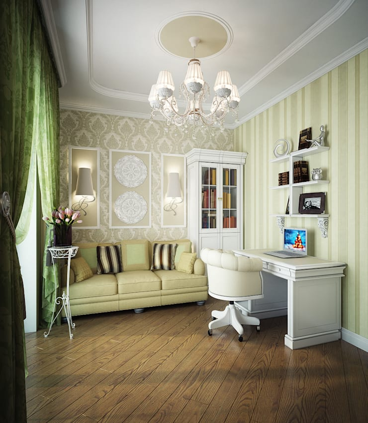 Проект 2х этажного коттеджа в стиле современная классика: Рабочие кабинеты в . Автор – Инна Михайская,