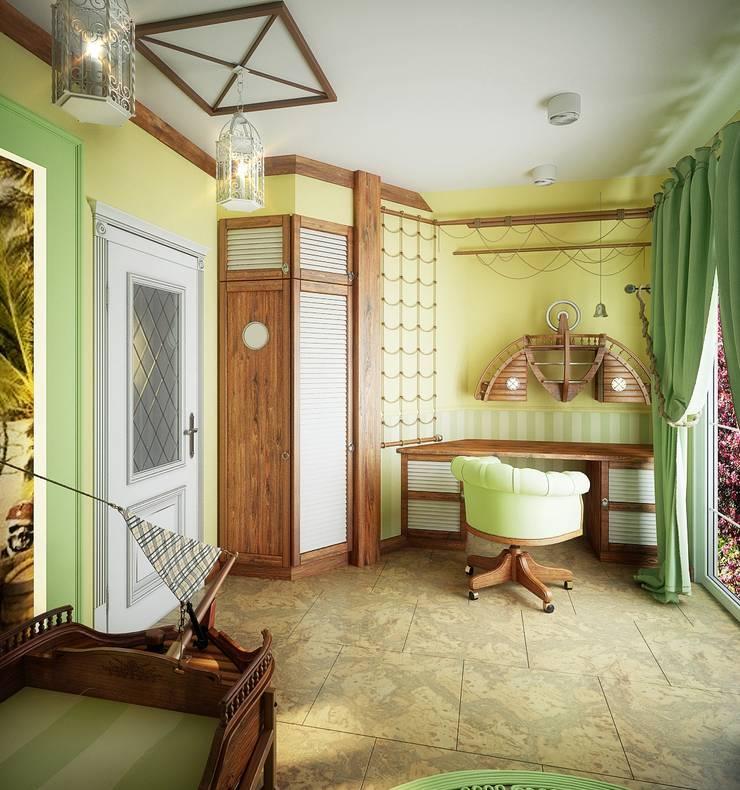 Проект 2х этажного коттеджа в стиле современная классика: Детские комнаты в . Автор – Инна Михайская,