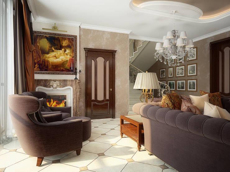 Проект 2х этажного коттеджа в классическом стиле: Гостиная в . Автор – Инна Михайская