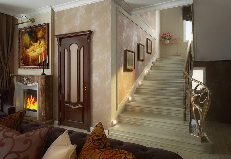 Проект 2х этажного коттеджа в классическом стиле: Коридор и прихожая в . Автор – Инна Михайская