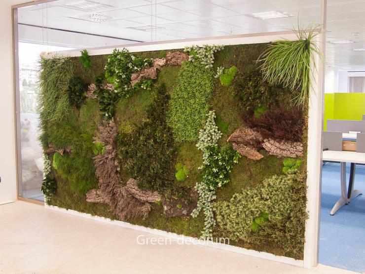 Jardín vertical planta preservada y artificial en edificio corporativo: Jardines de invierno de estilo  de BURESINNOVA S.A.