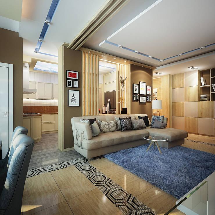 Проект 4х комнатной квартиры: Гостиная в . Автор – Инна Михайская