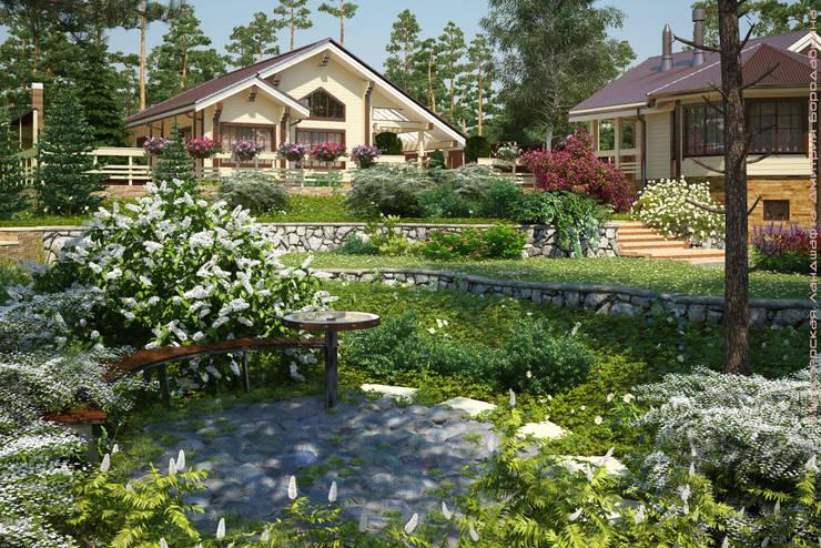 Tuin door Мастерская ландшафта Дмитрия Бородавкина, Landelijk
