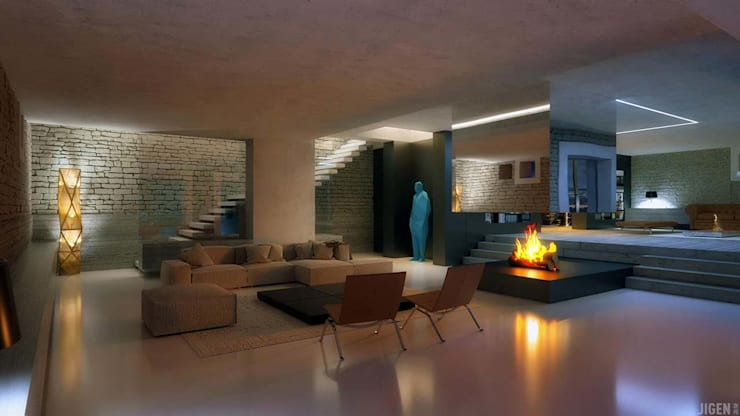 modern Living room by JIGEN