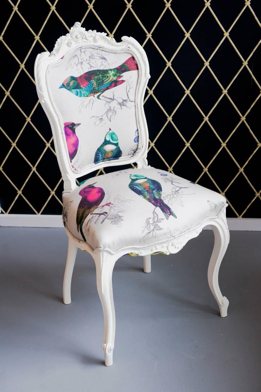 Krzesło do sypialni , Ptaszek na Ludwiku .: styl , w kategorii Sypialnia zaprojektowany przez Juicy Colors,
