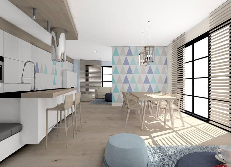Salon z kuchnią: styl , w kategorii  zaprojektowany przez project art