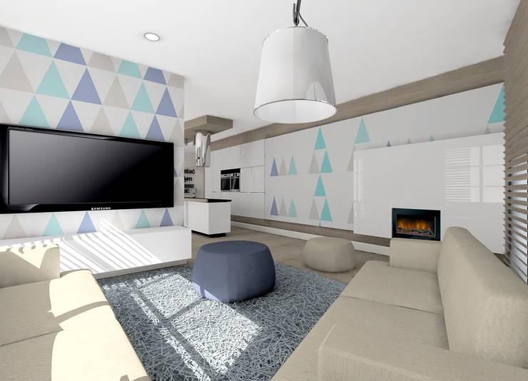 pokój telewizyjny: styl , w kategorii  zaprojektowany przez project art