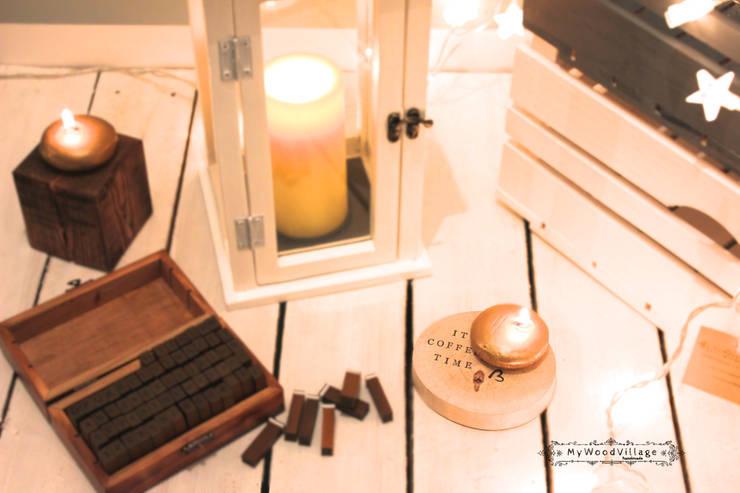 Podstawki pod świece - z dowolnym napisem.: styl , w kategorii Sypialnia zaprojektowany przez MyWoodVillage