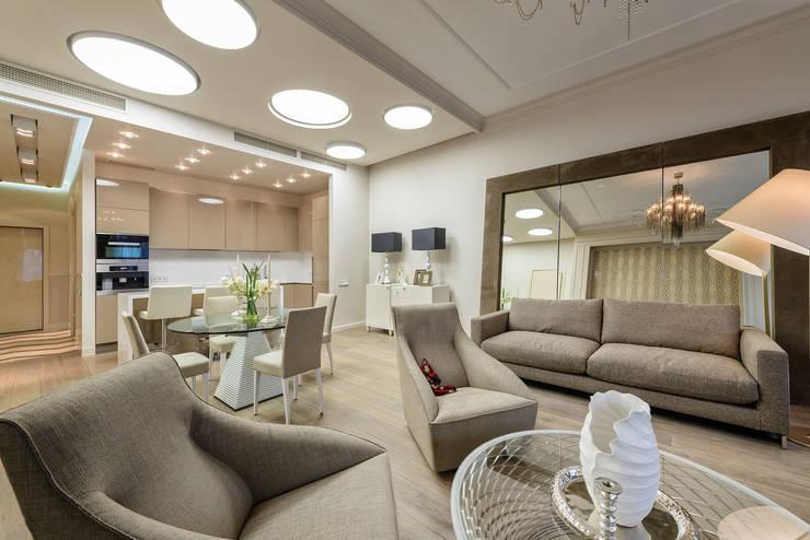 Гостиная в квортире на Якиманке: Гостиная в . Автор – Дизайн-студия «ARTof3L»