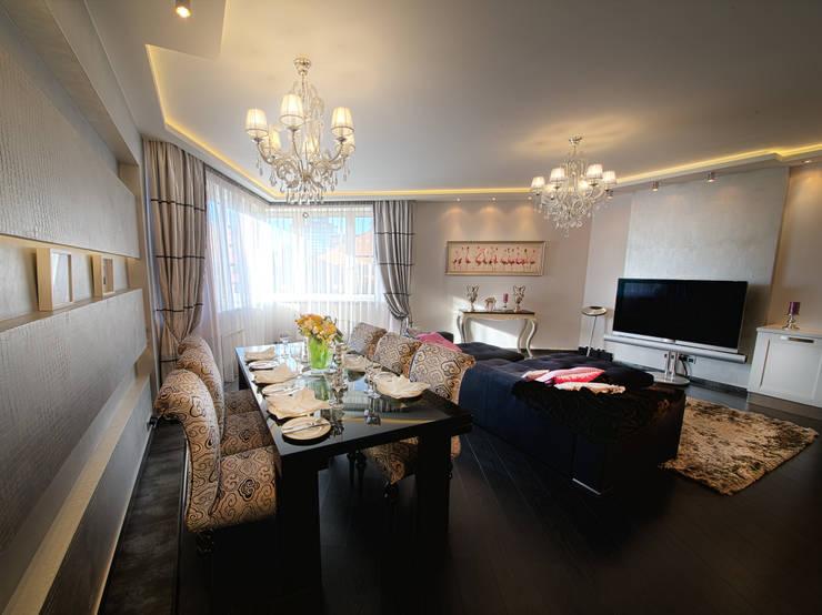 Столовая в  квартире на Смоленской: Столовые комнаты в . Автор – Дизайн-студия «ARTof3L»