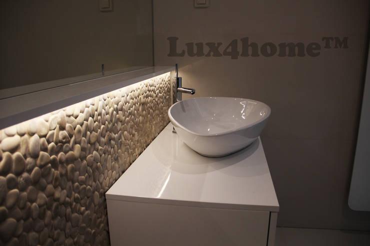 Otoczaki na ścianach. Łazienka z otoczaków. Beżowe otoczaki w łazience: styl , w kategorii Łazienka zaprojektowany przez Lux4home™,Nowoczesny