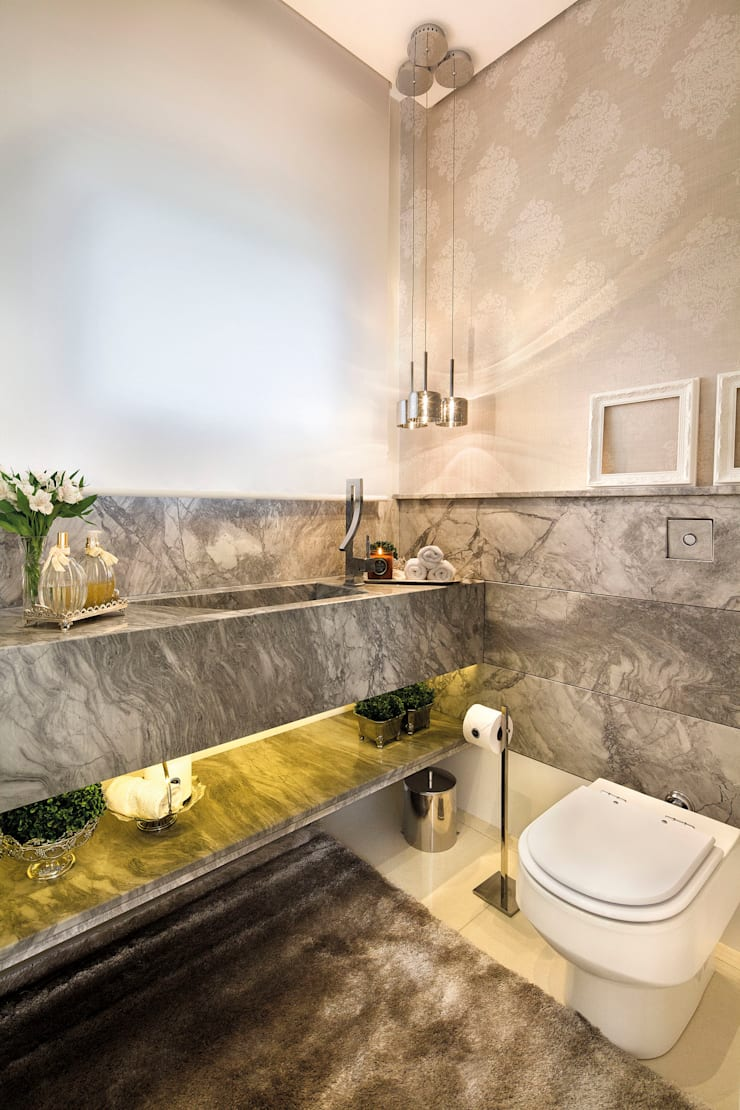 Casa BM: Banheiros modernos por BTarquitetura