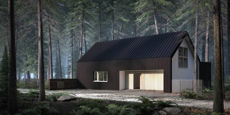 DOM CZARNO-BIAŁY: styl , w kategorii Domy zaprojektowany przez KOZIEJ ARCHITEKCI