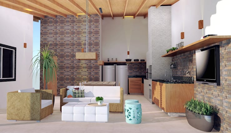 Área Gourmet: Terraços  por Arquiteto Virtual - Projetos On lIne