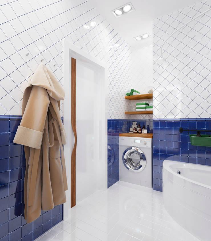 Ванная комната в <q>квартире холостяка</q>: Ванные комнаты в . Автор – Настасья Евглевская