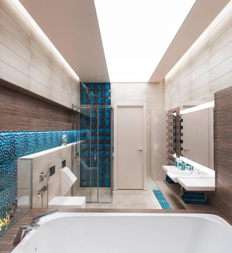 Ванная комната в загородном доме с биокамином: Ванные комнаты в . Автор – Настасья Евглевская