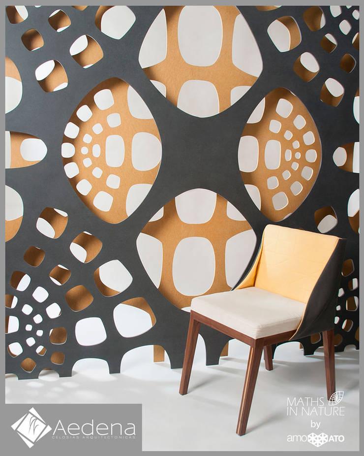 Celosía doble modelos PHILLO y AURUM: Paisajismo de interiores de estilo  por Aedena