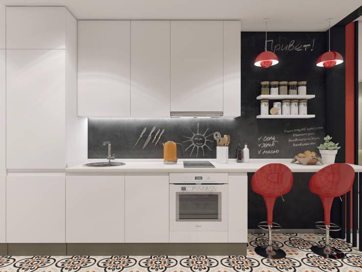УДОБНОЕ ЖИЛОЕ ПРОСТРАНСТВО НА 35 КВАДРАТАХ — РЕАЛЬНОСТЬ ИЛИ ВЫМЫСЕЛ? ДИЗАЙН-ПРОЕКТ СТУДИИ В ПОДМОСКОВЬЕ: Кухни в . Автор – Volkovs studio