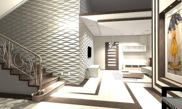 Projekt : styl , w kategorii Korytarz, przedpokój zaprojektowany przez WRONA STUDIO ,Nowoczesny