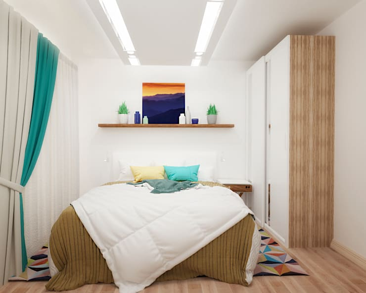 Спальня в квартире-студии для холостяка: Спальни в . Автор – Настасья Евглевская, Минимализм Дерево Эффект древесины