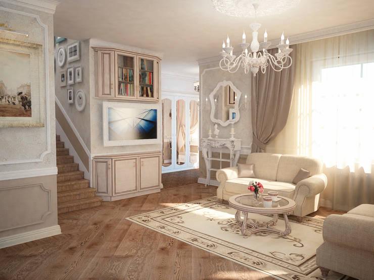 Таунхаус в классическом стиле: Гостиная в . Автор – Настасья Евглевская