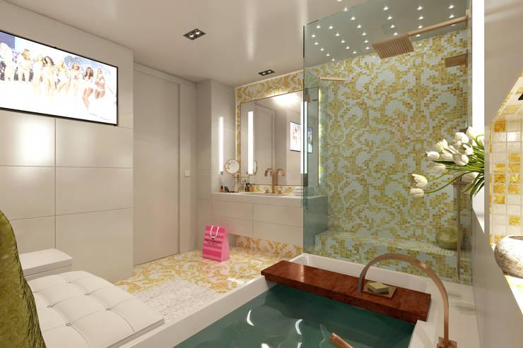 Bisazza Mosaik in gold mit weiß für die Badarchitektur : modern  von Design by Torsten Müller,Modern