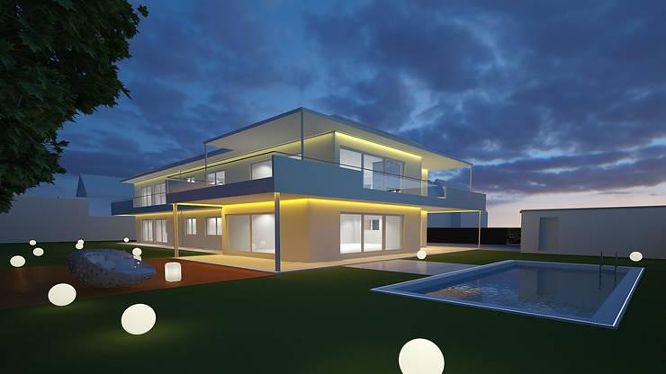 Haus und Pool Design mit dem richtigen Lichtdesign für die Sinne: modern  von Design by Torsten Müller,Modern