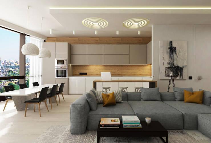Кухня в студии: Гостиная в . Автор – ARCHWOOD, дизайн-бюро