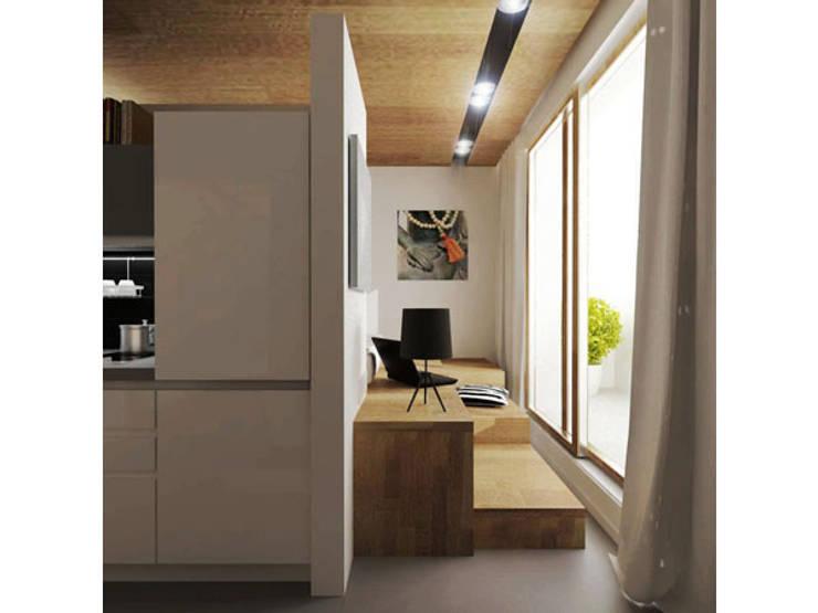 Вид на спальную зону: Кухни в . Автор – ARCHWOOD, дизайн-бюро