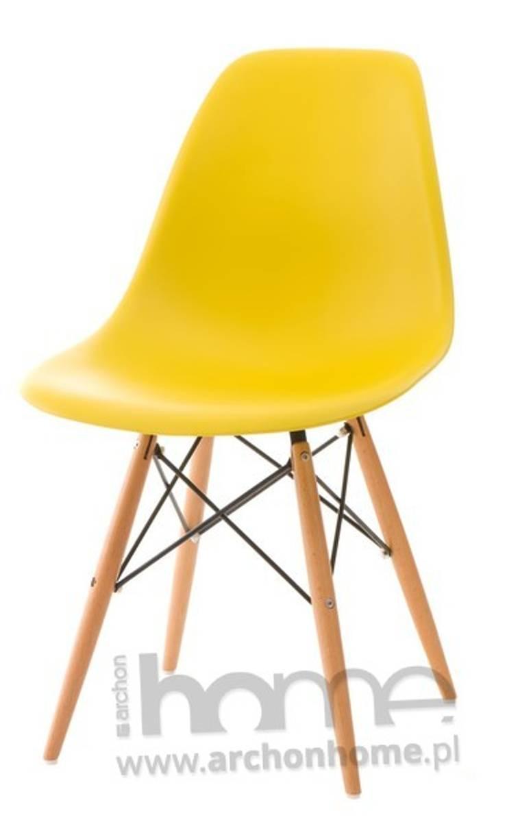 Krzesło Socrates żółte drewniane nogi: styl , w kategorii Jadalnia zaprojektowany przez ArchonHome.pl
